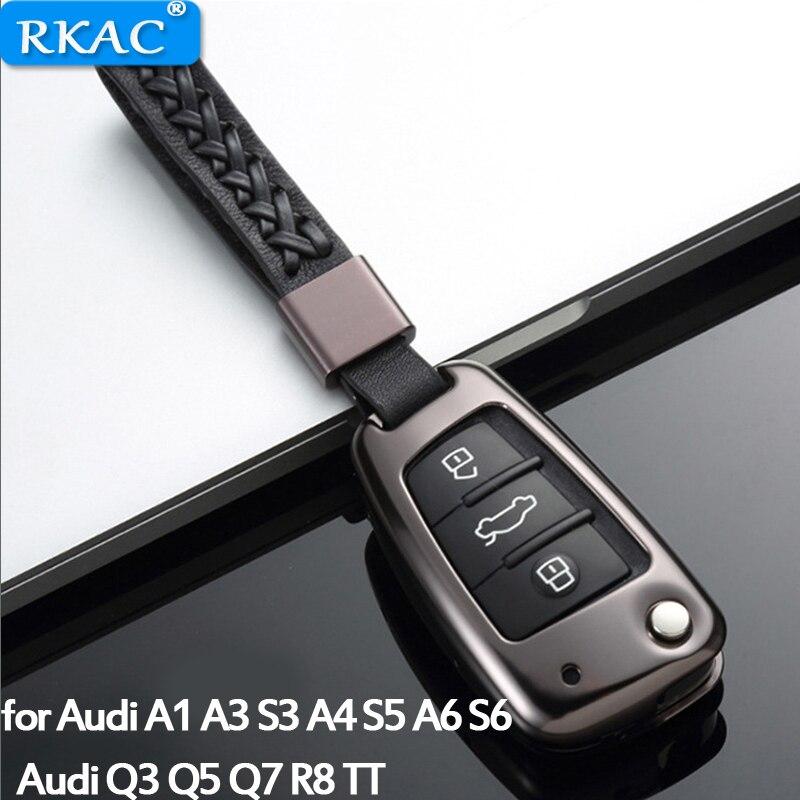 RKAC 1 pc housse de clé de voiture en alliage d'aluminium avec ceinture en cuir coque de clé sac de rangement protecteur pour Audi A3 A4 S5 A6 Q3 Q5 R8 TT