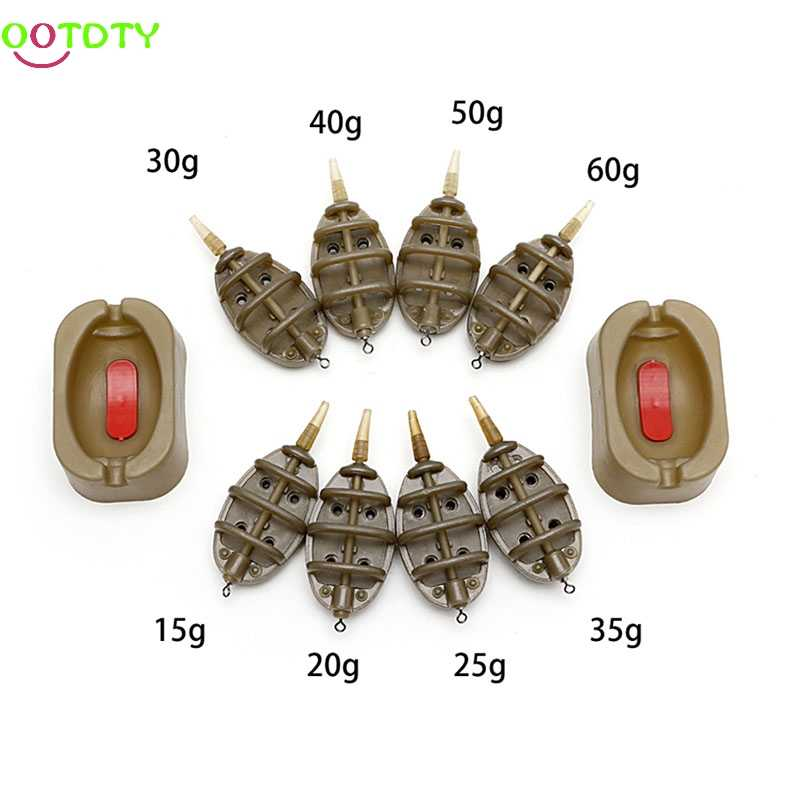1Set Inline Method Carp Fishing Feeder 4 Feeders 15/20/25/35g 30/40/50/60g Mould fishing Tackle Accessories