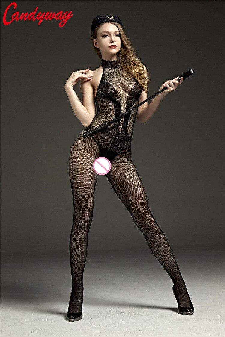 Female Lady Erotic Porn Sexy Costumes Nightdress Nightwear Crotch Body Stocking Lingerie Net Bodysuits nightie Intimates GA066