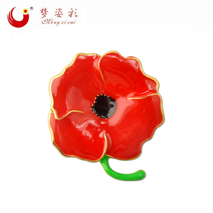 New Design Gold Alloy Red Poppy Flower Broach Enamel Broches Female Lapel Pin Women Brooch Accessories X1791