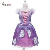 MUABABY Princess Sofia Dress Girls Summer Costume Children Birthday Party Puff Sleeve Purple Pageant Cartoon Cosplay