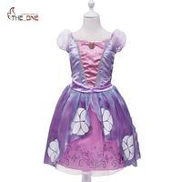 MUABABY Princess Sofia Dress Girls Summer Costume Children Birthday Party Puff Sleeve Purple Pageant Cartoon Cosplay