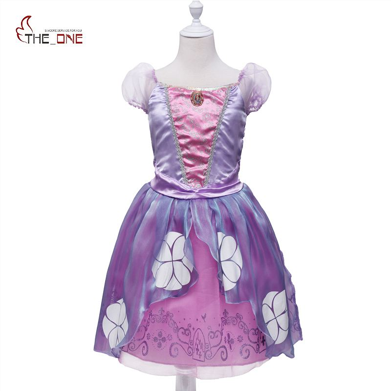 MUABABY Princess Sofia Dress Girls Summer Costume Children Birthday Party Puff Sleeve Purple Pageant Cartoon Cosplay Dresses sofia princess kids dress lovely purple
