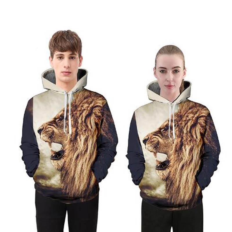 2018 New Creative 3D Digital Lions Hooded Suit Pocket Sweatshirt Mens Casual Drawstring Sweats Street Hip Hop Clothing