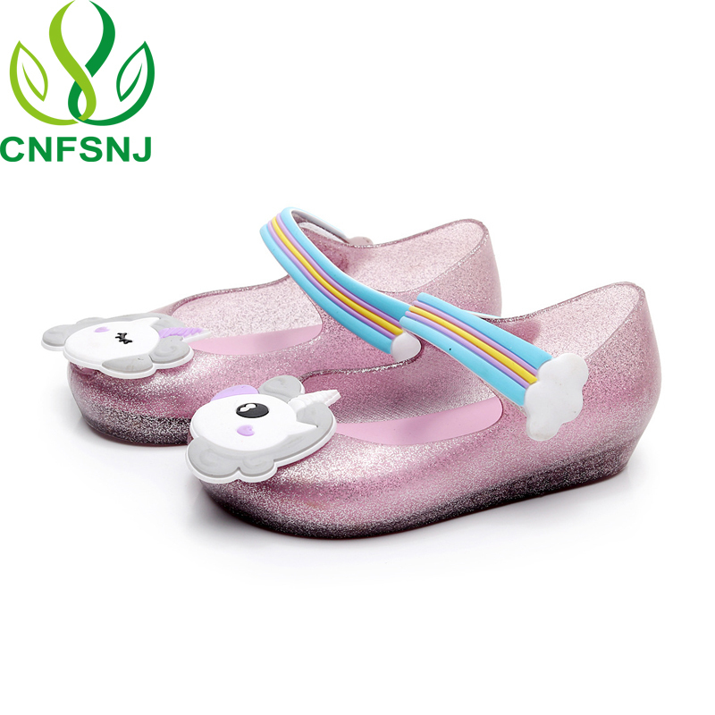 CNFSNJ brand 2018 New spring summer Mini Jelly Sandals Rainbow Unicorn Fish  Mouth sneakers Lovely Soft Princess Unicorns Shoes-in Sandals from Mother    Kids ... ee157f6b1882