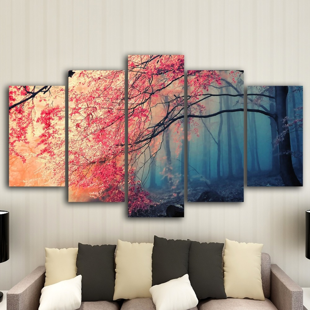 HD prints Modern Wall Art Canvas For Living Room 5 Pieces Cherry Blossoms Pictures Decor Red Trees Forest Painting poster