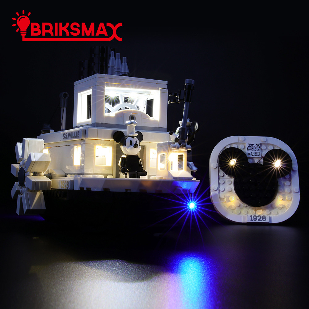 BriksMax Led Light Up Kit For Ideas Steamboat Willie Building Blocks Compatible With 21317 (NOT Include Model)
