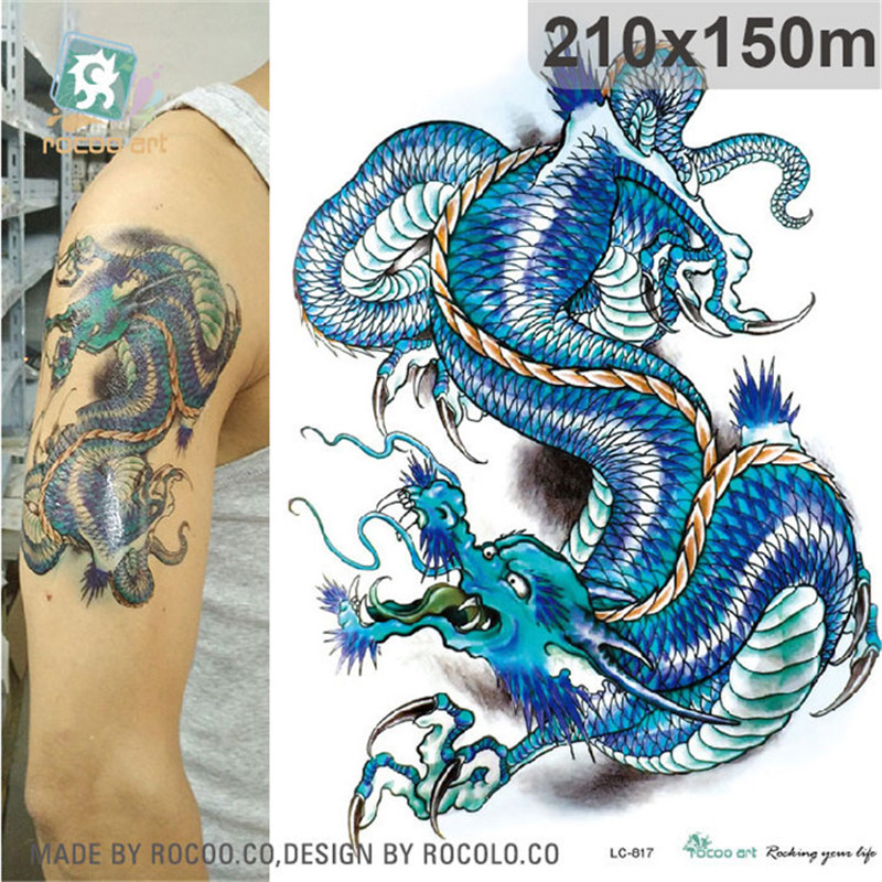 Body Art Waterproof Temporary Tatoo Paper For Boy Men Color Domineering Dragon Arm Pattern Large Arm Flash Tattoo Sticker LC2817