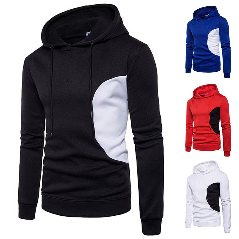 Fashion Men Hip Hop Patchwork Hooded Sweatshirt Slim Fit Hoodie Pullover Autumn Winter Tops -MX8
