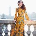 Высокое качество новинка 2016 женщин с длинным рукавом желтый великолепный цветочный принт Большой размер праздник макси длинное платье S-XXXL