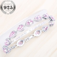 Drop Pink Cubic Zircon Silver 925 Jewelry Bracelet For Women BELLE NOEL 18+2CM Lovely Free Gift Box