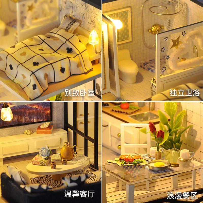 NEW Furniture DIY Doll House Wodden Miniatura Doll Houses Furniture Kit Dust Cover DIY Puzzle Assemble Dollhouse Toys For gift in Doll Houses from Toys Hobbies