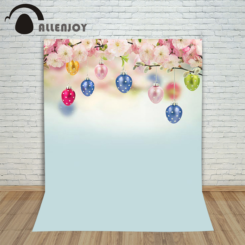 Allenjoy Easter backdrop eggs Pink flowers pastel backdrops fresh beautiful children backgrounds Photographic background