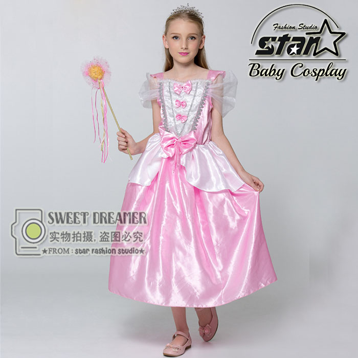Little Mermaid Ariel Princess Cosplay Dress With Bow Halloween Costume For Children Girls Kids Birthday Party Ball Gown fairy tale dress kids halloween princess cosplay dress