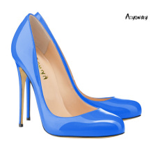 Aiyoway Women Shoes Lady Round Toe High Heels Pumps Slip On Autumn Spring Wedding Party Shoes Black & Blue & Green Thin Heels