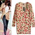 2016 new prints long cardigan sweater female loose ladies sweater