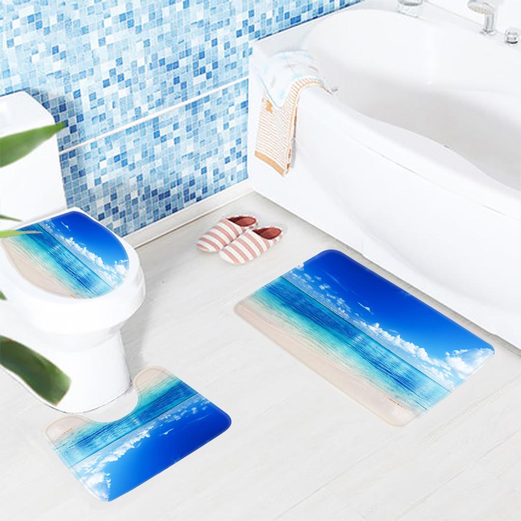 Sea And Sky Pattern Bathroom Mat