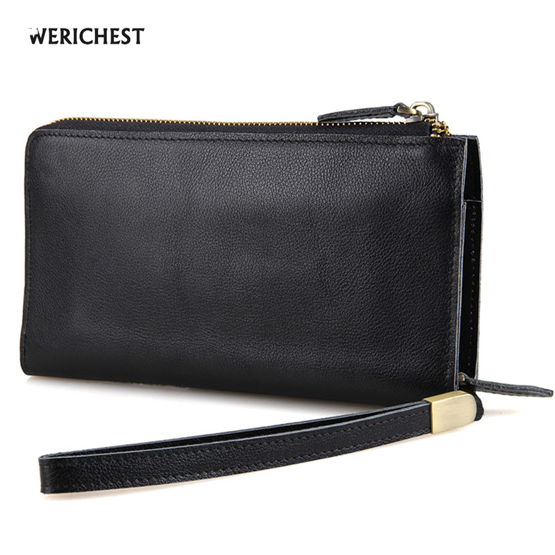 WERICHEST Brand Zipper Wallet Men Black Genuine Leather Clutch Wallet Male Purses Large Capacity Carteira with Phone Bag