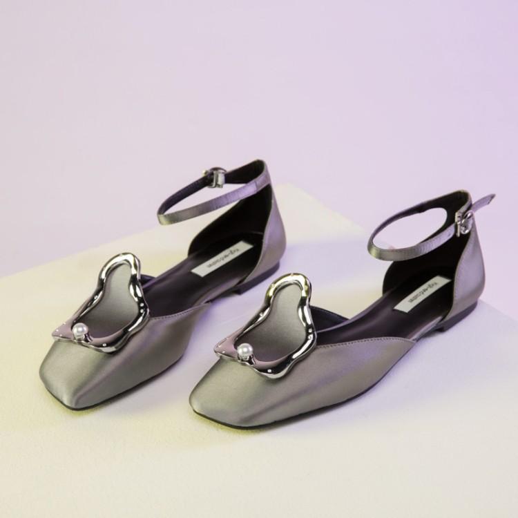 Zapatos Chic Noir Boucle Supérieure Cheville Noir Femmes Pourpre Luxe De Confortables gris Métal Janes En Gris Pour pourpre Chaussures Carré Plates Bout Soie Mary 6qvREpwx