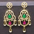 Unique Yellow Gold Plated Created Ruby&Emerald Zircon Drop Party Long Stud Earrings Fashion Jewelry For Women 2colors E01-2