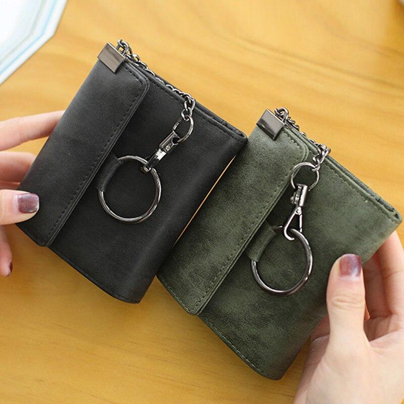 1 Pcs Women Lady Student Wallet Purse Chain Short Design Vintage For Money Coin Cards WF 668