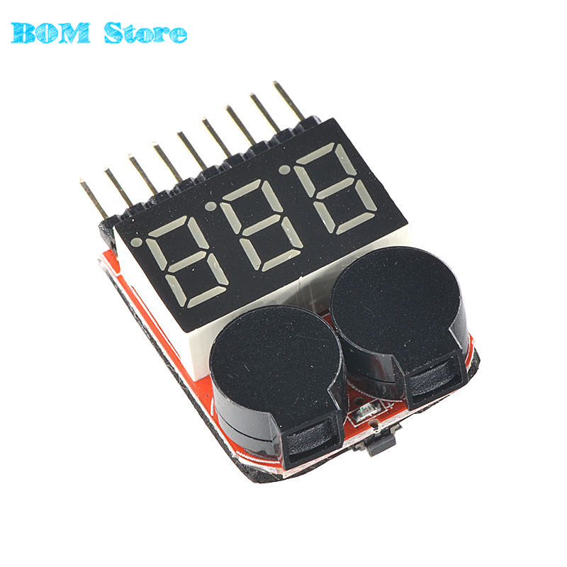 F00872 Low Voltage Buzzer Alarm Volt Meter Indicator Checker Dual Speaker 1-8S Lipo/Li-ion/Fe Battery 2 in 1 Tester 2S 3S 4S 8S rc model 2s 3s 4s detect lipo battery low voltage alarm buzzer