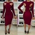 3 цвета женщины сексуальное выдалбливают midi dress 2017 лето осень с длинным рукавом bodycon повязку плюс размер vestidos де феста XD743