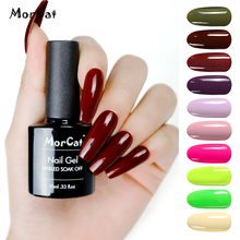 MorCat Gel Nail Polish Wine Red Color for Winter UV Varnish Art Soak Off Lacquer 10ml