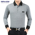Port&Lotus Polo Shirt Men Plaid Brand Clothing Polos Brand Long Sleeve Turn Down Collar Cheap Polo Shirt JSL 002 0639A