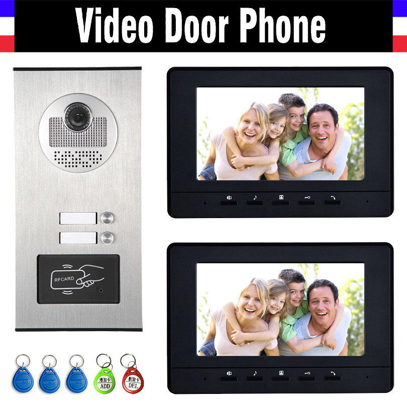2 Units Apartment Intercom System Video Intercom Video Door Phone Kit HD Camera 7 Monitor with RFID keyfobs for 2 Household my apartment
