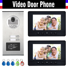 2 Units Apartment Intercom System Video Intercom Video Door Phone Kit HD Camera 7″ Monitor with RFID keyfobs for 2 Household