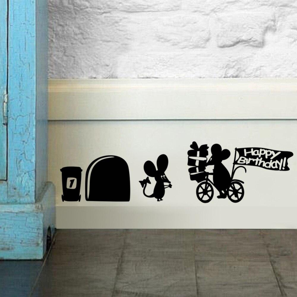 Happy Birthdays Cartoon Funny Mouse Hole Wall Stickers Rat Cartoon