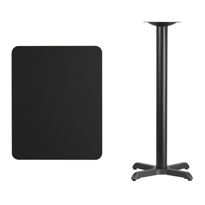 Flash Furniture 24'' x 30'' Rectangular Black Laminate Table Top with 22'' x 22'' Bar Height Table Base virginia cavaliers l211 42 tall logo pub table by holland bar stool company with black wrinkle base and 28 table top diameter