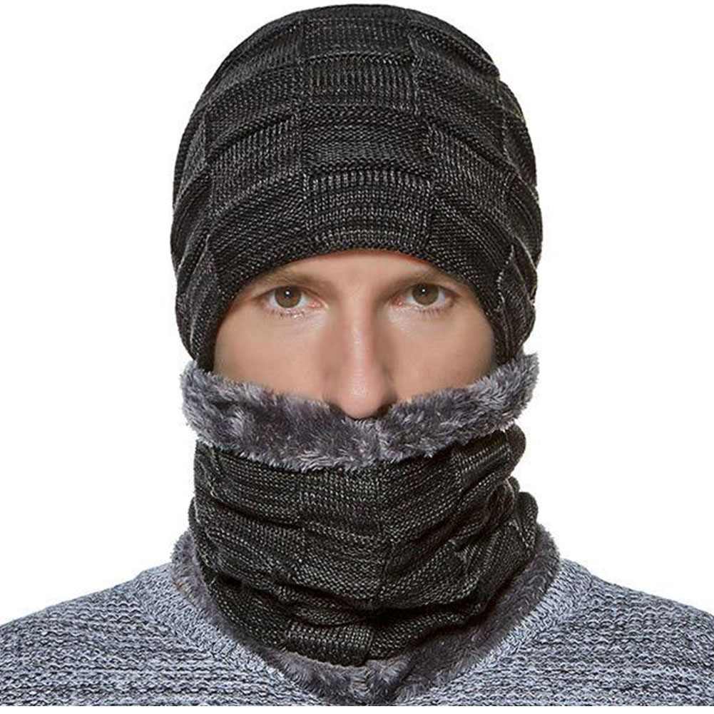 2 Pcs Set Gestrickte Warme Männer Radfahren Outdoor Plüsch Verdicken Herbst Winter Hut Schal Den Menschen In Ihrem TäGlichen Leben Mehr Komfort Bringen