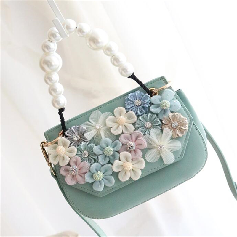 Sac à main de luxe femmes sac fait main fleurs fourre-tout perle poignée PU cuir épaule sac à bandoulière sac à main 2019 Designer sac à main