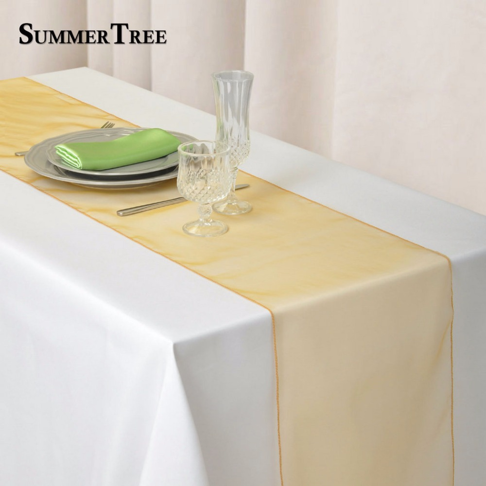 Gold Table Runners Pack of 10-Satin Table Runner Gold,12 x 108 Inches for Wedding Banquet Party Decoration