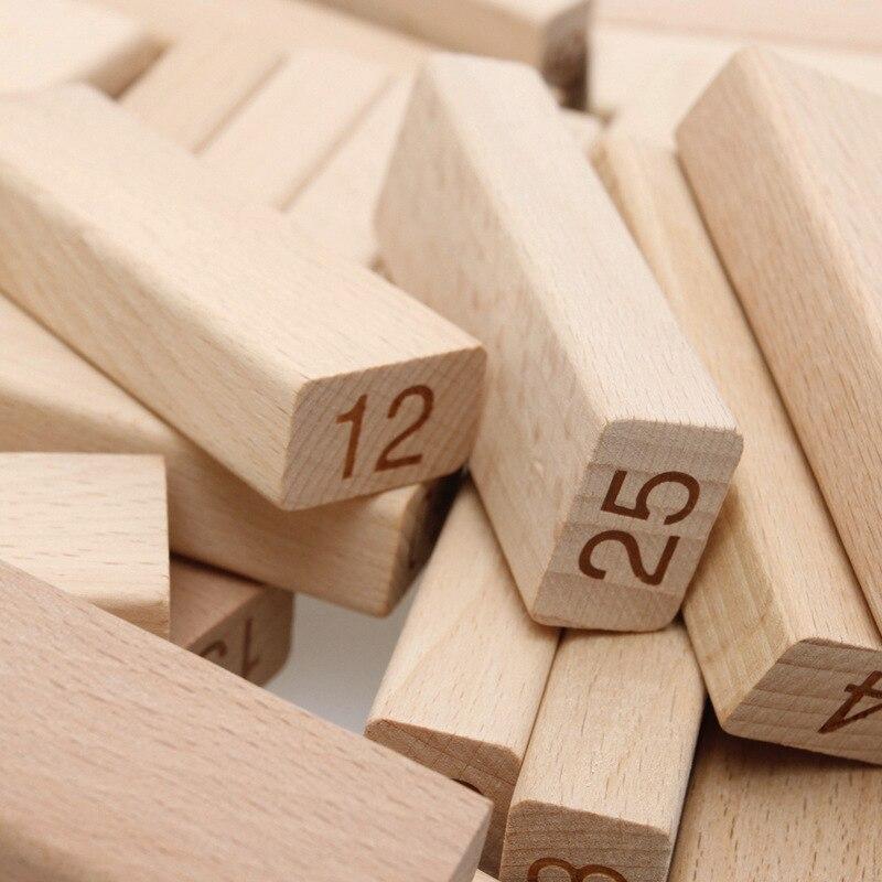 Jouet de bloc de dominos mathématiques en bois pour enfants, Double face, compte mathématique, carte d'apprentissage, jeu de mathématiques, outil d'enseignement - 3