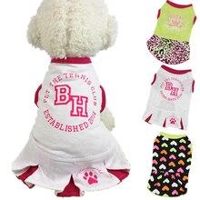 Spring Summer Dog Dress Cotton Cute Cartoon Print Dog Dresses Sport XS L Pet Clothes For