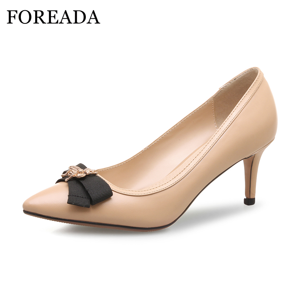 FOREADA Women Pumps Genuine Leather Shoes Thin High Heels Pointed Toe 2018 Party Shoes Spring Animal Slip On Sexy Shoes Ladies krazing pot shallow fashion brand shoes genuine leather slip on pointed toe preppy office lady thick high heels women pumps l18