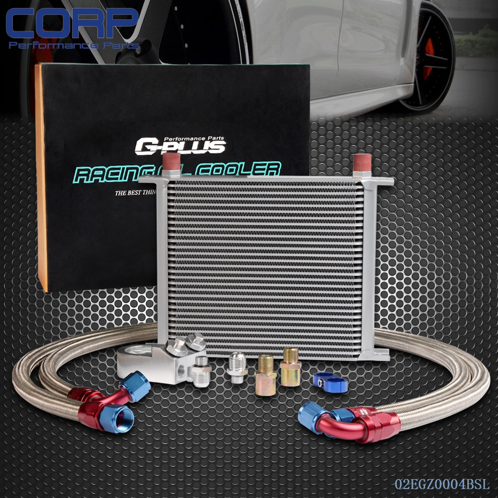 30 Row AN-10AN Universal Engine Transmission Oil Cooler + Filter Relocation Kit