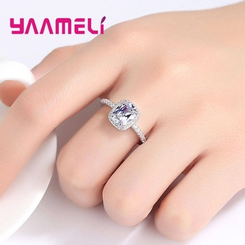 Hot Sale 925 Sterling Silver Finger Ring A++++ Geometry Square Grade Cubic Zircon Stone Sweet Woman Girls Valentines Day Gift 4
