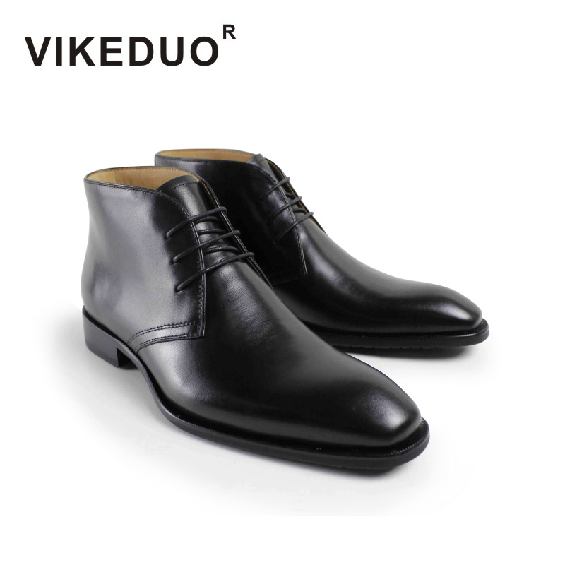Vikeduo 2018 Новый военный загрузки мужские кожаные Bota Masculina Мода Повседневное Роскошные Черные ботильоны на высоком каблуке Зимние ручной работ