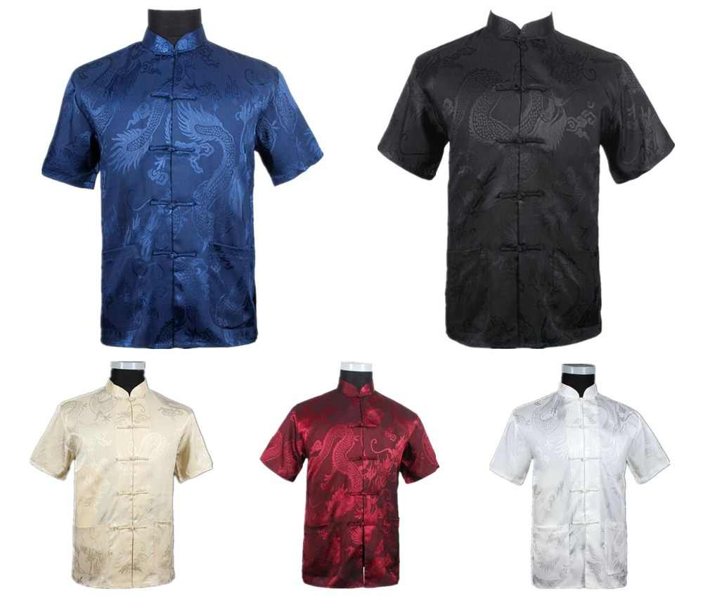 Бургундия Китайская мужская летняя рубашка для отдыха Высококачественная шелковая вискоза Кунг фу Тай Чи Рубашки большие размеры M L XL XXL XXXL M061308
