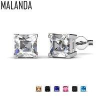 MALANDA Marke Kleine Quadratische Zirkon Piercing Ohrringe Für Frauen Kristall Von Swarovski Fashion Ohrringe Hochzeit Schmuck Geschenk
