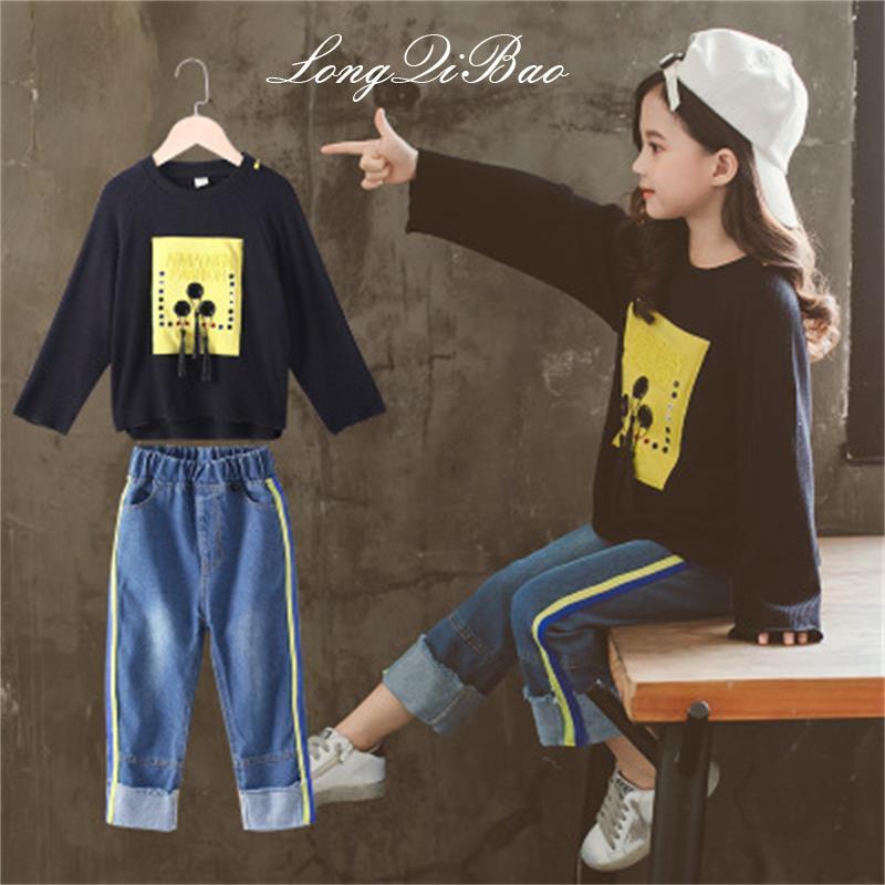 Vêtements pour enfants filles automne costume 2018 nouvelle version coréenne de l'étranger grands enfants de printemps sports deux pièces costume tide vêtements