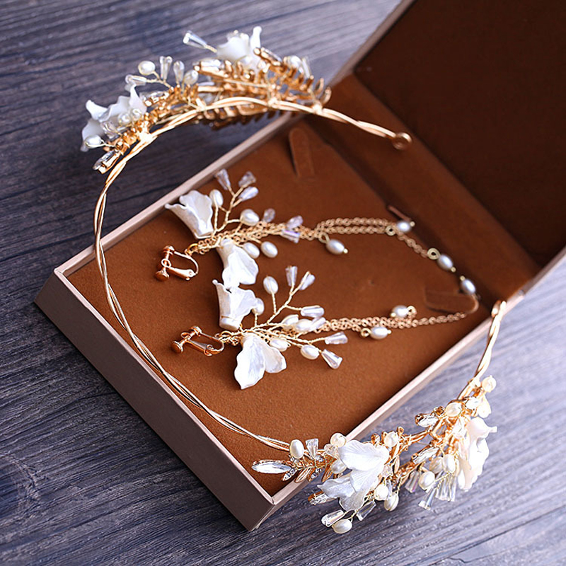 Bride Wedding Hairband Earring Sets Fashion Crystal Pearl Bridal Hair Accessories Headband Crown Women Headpiece Head Jewelry
