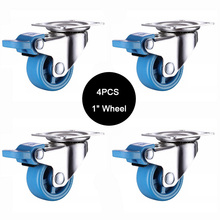 4PCS 1inch Caster With Brake,PA Nylon,Super Mute Wheels,bear 20kg/pcs,For Bookcase Drawer Flower Racks,Small Cupboard JF1573