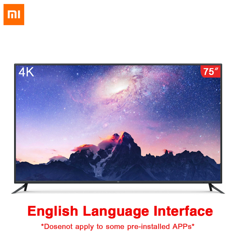 Original Xiaomi TV 4 75 pouces interface anglaise 4K Ultra-thin11.4mm corps Intelligent télécommande 4K HDR 2GB + 32GB Dolby sound