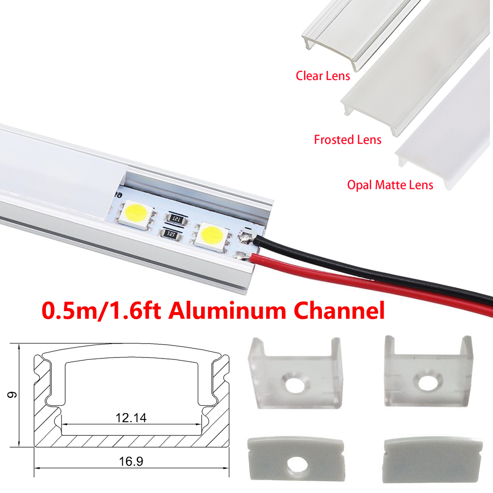 0,5M Super Slim Innfelt Aluminium LED-profil uten flens Bruke for Strip innenfor 12mm Led Bar Light led profil aluminium