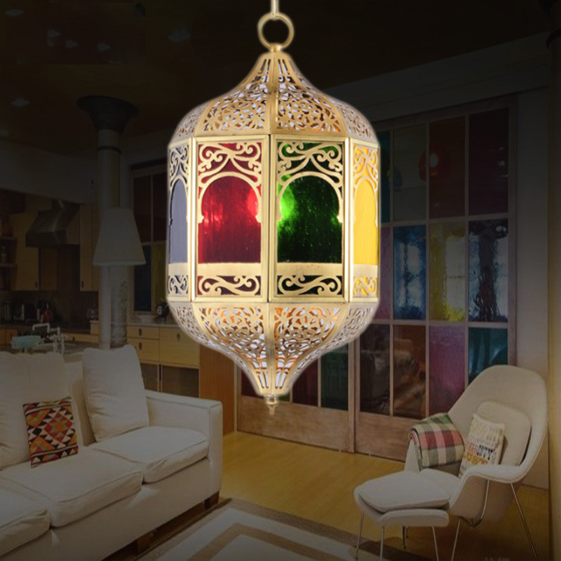 small arab pendant light copper and colorful glass material middle east muslim hanging light SASO SAA CE UL certificate E27*1 цена